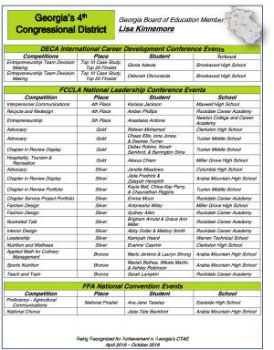2019 Nationals Brag Sheet District 4