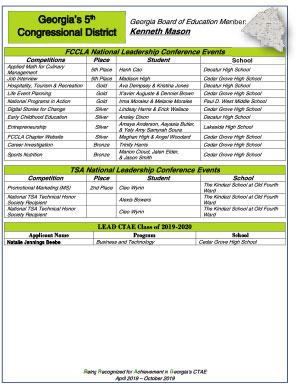 2019 Nationals Brag Sheet District 5